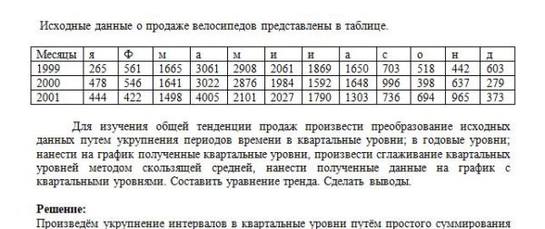 Исходные данные о продаже велосипедов представлены в таблице. Месяцы я Ф м а м и и а с о н д 1999 265 561 1665 3061 2908 2061 1869 1650 703 518 442 603 2000 47