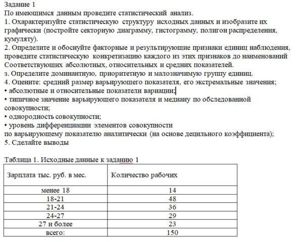 По имеющимся данным проведите статистический анализ. 1. Охарактеризуйте статистическую структуру исходных данных и изобразите их графически (постройте секторную