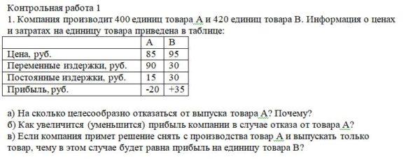1. Компания производит 400 единиц товара А и 420 единиц товара В. Информация о ценах и затратах на единицу товара приведена в таблице: А В Цена, руб. 85 95 Пер
