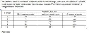 Рассчитать предполагаемый объем годового сбыта товара методом достоверной средней, если эксперты дали следующие прогнозные оценки. Рассчитать среднюю величину и