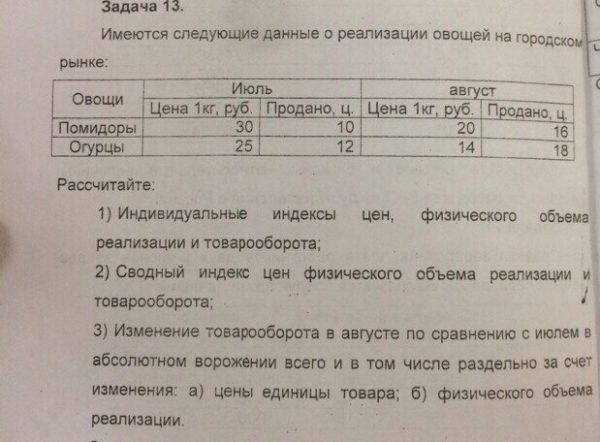 Имеются следующие данные о реализации овощей на городском рынке: Овощи Июль Август Цена 1 кг, руб. Продано, ц. Цена 1 кг, руб. Продано, ц. Помидоры 30 10 20 16