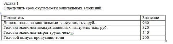 Определить срок окупаемости капитальных вложений. Показатель Значение Дополнительные капитальные вложения, тыс. руб. 960 Годовая экономия эксплуатационных издер