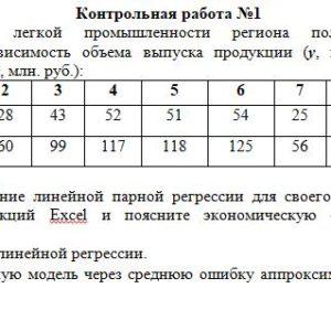 Контрольная работа №1 По предприятиям легкой промышленности региона получена информация, характеризующая зависимость объема выпуска продукции (у, млн. руб.) от