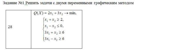 Решить задачи с двумя переменными графическим методом Q(X)=2x1+3x2 min x1+x1>=2 x1-x2=6 3x1-x2>=6