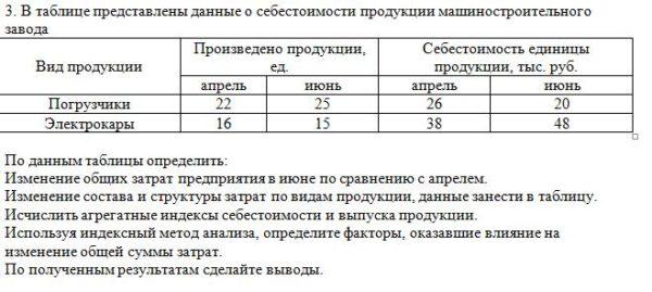 3. В таблице представлены данные о себестоимости продукции машиностроительного завода Вид продукции Произведено продукции, ед. Себестоимость единицы продукции,