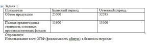 Задача 1 ПоказателиБазисный периодОтчетный период Объем продукции2500032595 Полная среднегодовая стоимость основных производственных фондов 1160013500 Опр
