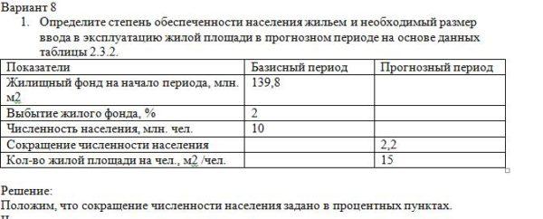 1. Определите степень обеспеченности населения жильем и необходимый размер ввода в эксплуатацию жилой площади в прогнозном периоде на основе данных таблицы 2.3.