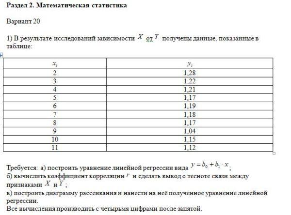 1) В результате исследований зависимости от получены данные, показанные в таблице: 2 1,28 3 1,22 4 1,21 5 1,17 6 1,19 7 1,18 8 1,17 9 1,04 10 1,15 11 1,12 Требу