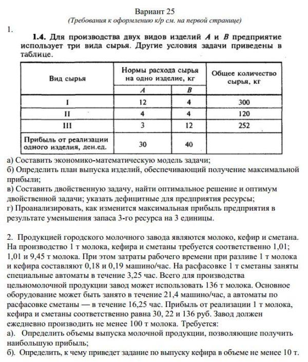 Вариант 25 (Требования к оформлению к/р см. на первой странице) 1. а) Составить экономико-математическую модель задачи; б) Определить план выпуска изделий, обес
