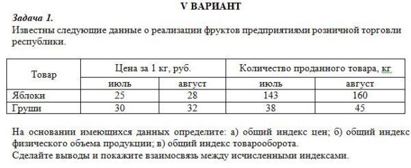 Известны следующие данные о реализации фруктов предприятиями розничной торговли республики. Товар Цена за 1 кг, руб. Количество проданного товара, кг июль авгу