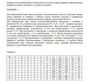 ВАРИАНТ 8 Задание 1 Для приведенной ниже задачи составить математическую модель, подставив данные своего варианта из таблицы 1. Решить задачу симплекс методом и