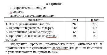 Известны следующие данные: Показатели 1. Объем реализации, тыс. руб. 2. Переменные расходы, тыс. руб. 3. расходы, тыс. руб, 4 Процентные платежи по ссудам, I