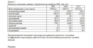 Имеются следующие данные о перевозках пассажиров в РФ, млн. чел. 199220002015 Всего перевезено, в том числе47885,044854,119121,6 железнодорожный23721419
