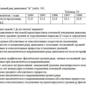 """Интервальный ряд динамики """"А"""" (табл. 34) Таблица 34 Показа"""