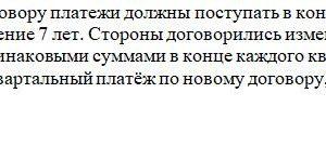 55. Согласно старому договору платежи должны поступать в конце каждого полугодия в размере 30 000 руб. в течение 7 лет. Стороны договорились изменить срок на 5