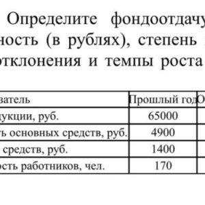 Определите фондоотдачу, фондоемкость, фондовооруженность (в рублях), степень износа основных средств (в %); отклонения и темпы роста по исчисленным показателям.
