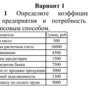 Вариант 1 Задание Определите коэффициент платеже- способности предприятия и потребность в денежных ресурсах балансовым способом. Показатель Сумма, руб. Денежные