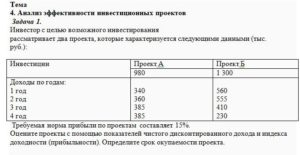 Инвестор с целью возможного инвестирования рассматривает два проекта, которые характеризуется следующими данными (тыс. руб.): ИнвестицииПроект АПроект Б 980
