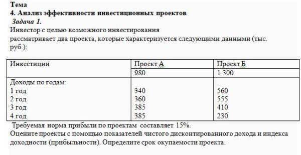 Инвестор с целью возможного инвестирования рассматривает два проекта, которые характеризуется следующими данными (тыс. руб.): Инвестиции Проект А Проект Б 980