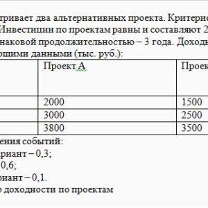 Предприятие рассматривает два альтернативных проекта. Критерием выбора является минимизация риска. Инвестиции по проектам равны и составляют 2 млн. руб. Проект