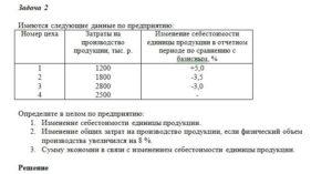 Имеются следующие данные по предприятию: Номер цехаЗатраты на производство продукции, тыс. р.Изменение себестоимости единицы продукции в отчетном периоде по с