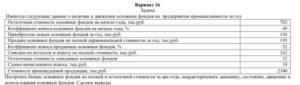 Вариант 16 Задача Имеются следующие данные о наличии и движении основных фондов на предприятии промышленности за год Остаточная стоимость основных фондов на нач