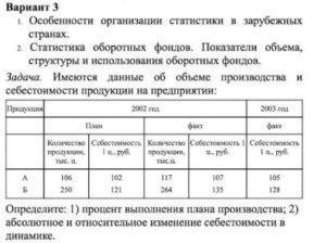 Вариант 3 1. Особенности организации статистики в зарубежных странах. 2. Статистика оборотных фондов. Показатели объема, структуры и использования оборотных фон