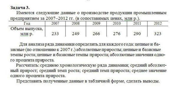 Задача 3. Имеются следующие данные о производстве продукции промышленным предприятием за 2007-2012 гг. (в сопоставимых ценах, млн р.). Год 2007 2008 2009 2010 2