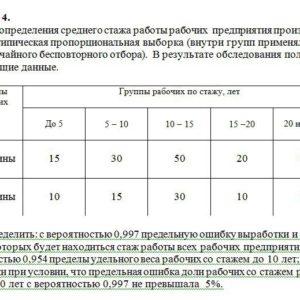 Задача 4. Для определения среднего стажа работы рабочих предприятияпроизведена 20%-ятипическая пропорциональная выборка (внутри групп применялся ме- тод случайн