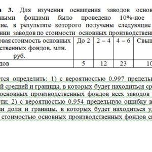Задача 3. Для изучения оснащения заводов основными про-изводственными фондами было проведено 10%-ное выбороч¬ное обследование, в результате которого получены сл