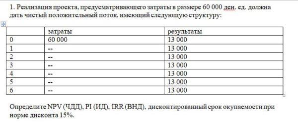 1. Реализация проекта, предусматривающего затраты в размере 60 000 ден. ед. должна дать чистый положительный поток, имеющий следующую структуру: затраты резуль
