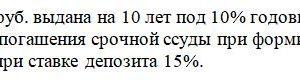 Ссуда 100 тыс. руб. выдана на 10 лет под 10% годовых. Проценты начисляются ежегодно. Составьте план погашения срочной ссуды при формировании погасительного фонд