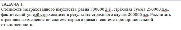 Стоимость застрахованного имущества равна 500000 д.е., страховая сумма 250000 д.е., фактический ущерб страхователя в результате страхового случая 200000 д.е. Ра