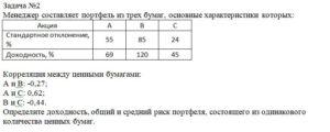 Менеджер составляет портфель из трех бумаг, основные характеристики которых: АкцияАВС Стандартное отклонение, %558524 Доходность, %6912045 Корреляция м