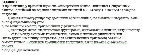 Задание 1 В приложении А приведен перечень коммерческих банков, лишенных Центральным банком Российской Федерации банковских лицензий в 2014 году. По данным за в