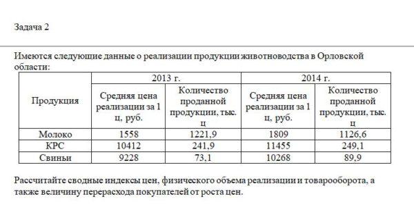 Имеются следующие данные о реализации продукции животноводства в Орловской области: Продукция 2013 г. 2014 г. Средняя цена реализации за 1 ц, руб. Количество п