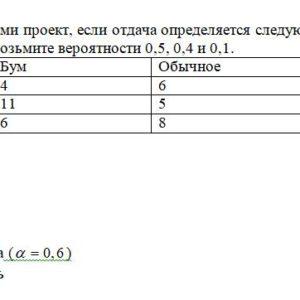 Выберите 4-мя способами проект, если отдача определяется следующей таблицей. Для взвешенного подхода возьмите вероятности 0,5, 0,4 и 0,1. Бум Обычное Спад Прое