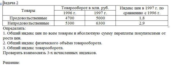 Товары Товарооборот в млн. руб. Индекс цен в 1997 г. по сравнению с 1996 г. 1996 г. 1997 г. Продовольственные 4700 5000 1,8 Непродовольственные 5300 6300 2,9