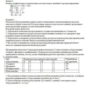 Готовая контрольная работа по МОР, вариант 8 Решить графическим и симплексным методом задачу линейного программирования Min f ( x ) = 3X1 + 2X2