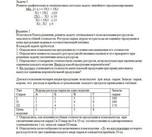 Контрольная работа по методам оптимальных решений, вариант 4 Решить графическим и симплексным методом задачу линейного программирования             Min  f ( x )