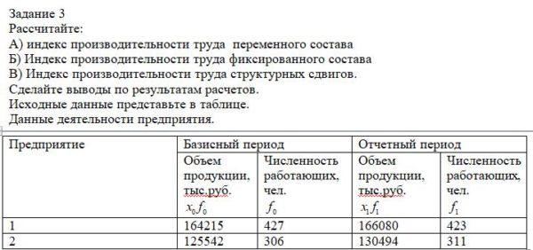 Рассчитайте: А) индекс производительности труда переменного состава Б) Индекс производительности труда фиксированного состава В) Индекс производительности труд
