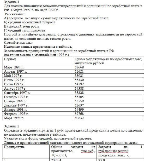 Задание 1 Для анализа динамики задолженности предприятий и организаций по заработной плате в РФ с марта 1997 г. по март 1998 г. Рассчитайте: А) среднюю месяч