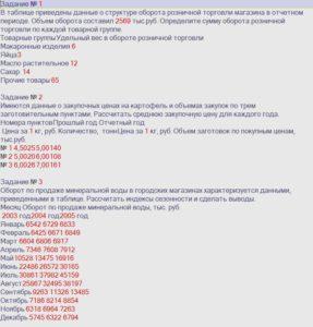 Задание № 1 В таблице приведены данные о структуре оборота розничной торговли магазина в отчетном периоде. Объем оборота составил 2569 тыс.руб. Определите сумму