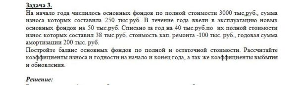 На начало года числилось основных фондов по полной стоимости 3000 тыс.руб., сумма износа которых составила 250 тыс.руб. В течение года ввели в эксплуатацию новы