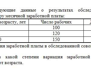Задача 30. Имеются следующие данные о результатах обследования рабочих предприятия по размеру месячной заработной платы: Группы рабочих по возрасту, лет Число